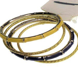 Dress Barn Bangle Bracelet Set Enamel Blue Gold
